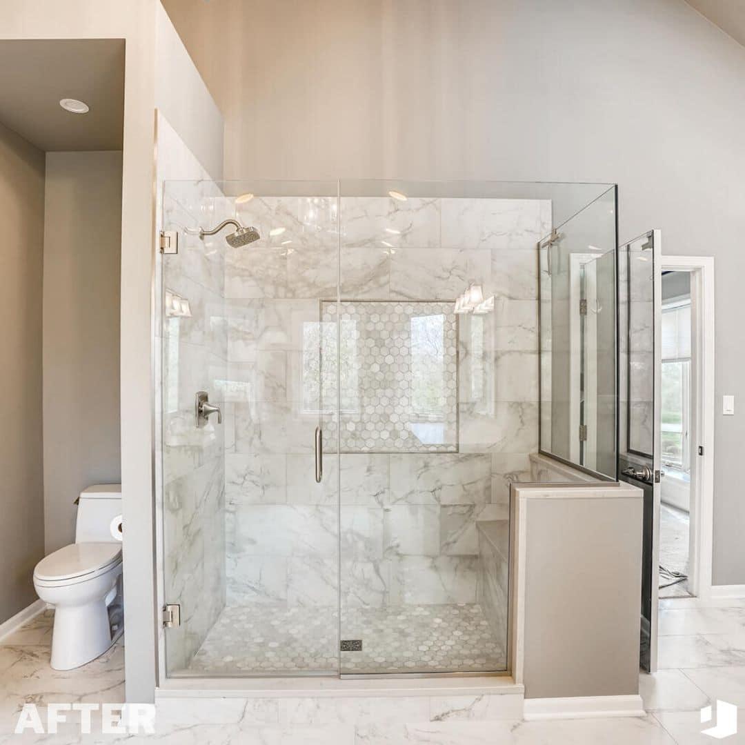 From Pink to Sleek Bathroom Remodel